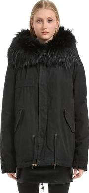 Cotton Canvas Parka With Murmansky Fur