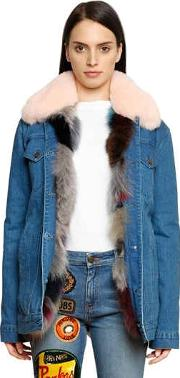 Denim Jacket W Fox Fur Collar & Lining