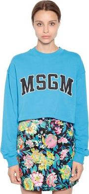 Cropped Logo Patches Cotton Sweatshirt