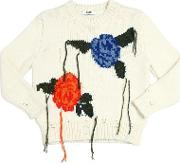 Distressed Floral Wool Blend Sweater