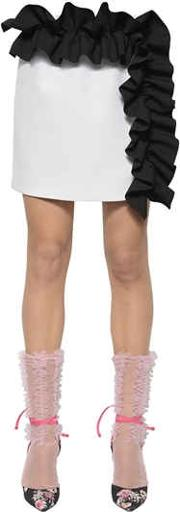 Double Crepe Mini Skirt With Ruffles