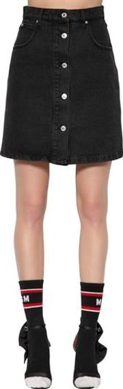 High Waisted Cotton Denim Mini Skirt