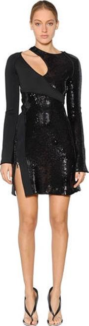 Asymmetrical Sequined Crepe Dress