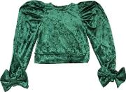 Crushed Velvet Top W Bows