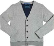Doubled Knitted Cotton Blend Cardigan