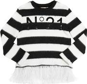 Striped Sweater W Feather Trim