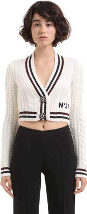 Wool & Mohair Cable Knit Crop Cardigan