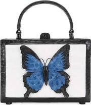 Butterfly Box Caiman Top Handle Bag