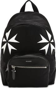 Patch Stars Nylon & Leather Backpack