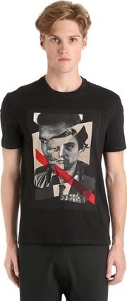 Printed Faces Cotton Jersey T Shirt