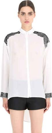 Embellished Silk Shirt With Cutouts