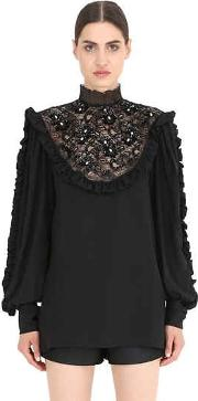 Embellished Silk Shirt With Lace Insert