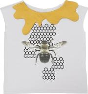 Bee Printed Cotton Jersey T Shirt