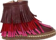 Leather Ankle Boots W Fringe