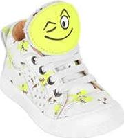 Smiley Patches Printed Leather Sneakers