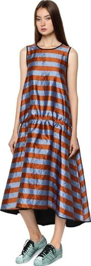 Shiny Striped Drop Waist Dress