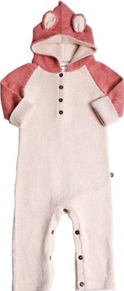 Panther Hooded Baby Alpaca Knit Romper