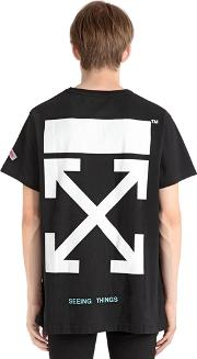 Brushed Arrows Cotton Jersey T Shirt