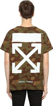 Camo Arrows Print Cotton Jersey T Shirt