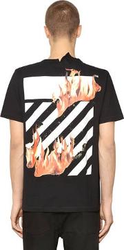 Diag Fire Hands Cotton Jersey T Shirt