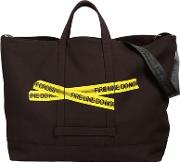 Fire Line Tape Canvas Tote Bag