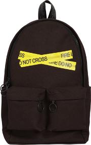 Fire Line Tape Cotton Canvas Backpack