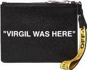 Virgil Was Here Print Leather Pouch