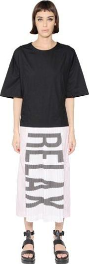 Relax Printed Pleated Cotton Dress