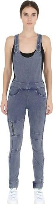 Denim Effect Cotton Pique Overalls
