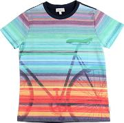Bicycle Striped Cotton Jersey T Shirt