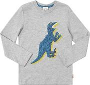 Dino Print Cotton Jersey T Shirt