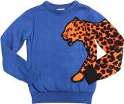 Leopard Intarsia Cotton Blend Sweater