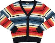 Striped Cotton Tricot Cardigan