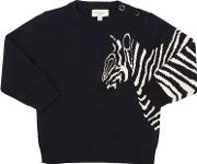Zebra Intarsia Cotton Blend Knit Sweater