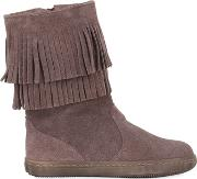 Suede Boots W Fringe