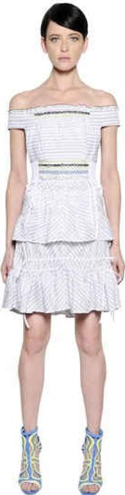 Off The Shoulders Striped Jacquard Dress
