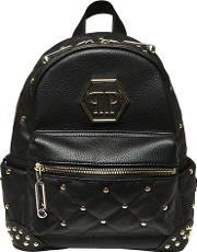 Studded Quilted Faux Leather Backpack