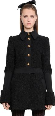 Faux Astrakhan & Compact Jersey Coat