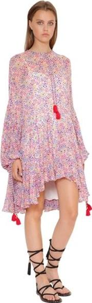 Floral Print Flared Georgette Dress