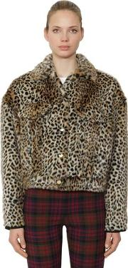 Leopard Faux Fur Trucker Jacket