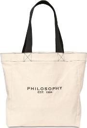 Logo Printed Cotton Canvas Tote