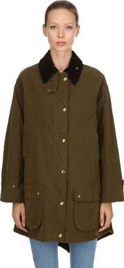 Oversized Waxed Cotton Blend Jacket