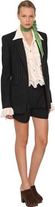 Pinstripe Cotton And Wool Blazer Jacket