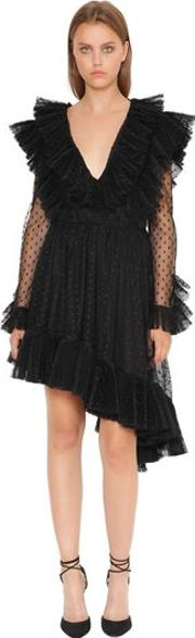 Plisse Swiss Dot Tulle Dress