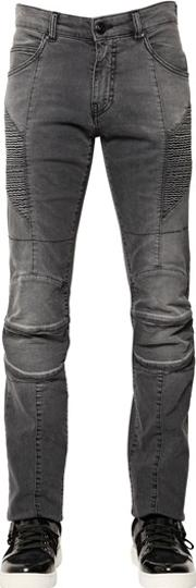 15.5cm Faded Stretch Denim Biker Jeans