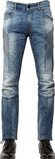 15.5cm Washed Stretch Denim Biker Jeans