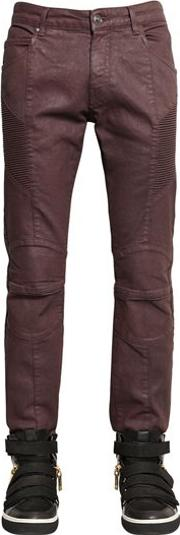 16.5cm Biker Coated Stretch Denim Jeans