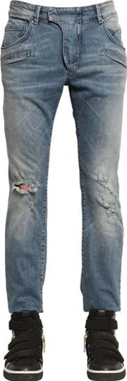 17cm Biker Destroyed Stretch Denim Jeans
