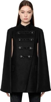 Embellished Military Wool Cape