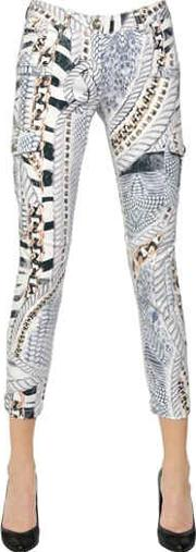 Printed Stretch Cotton Denim Jeans